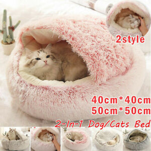 Puppy Dog Cat Kitten Calming Bed Plush Fluffy Soft Warm House Kennel Cave Nest
