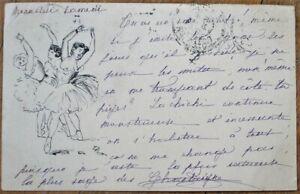 Hand-Drawn/Original Art 1901 French Postcard: Dancing Women, Ballet/Ballerinas