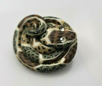 Vintage Snake Brooch Pin Coiled Polymer Clay Gold Tone Clear Rhinestone Eyes