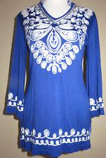 V Cristina Beautiful Boho Chic Dazzling Blue Soutache Tunic Top Sz Small NEW $99