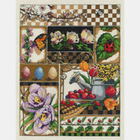 """Janlynn Counted Cross Stitch Kit Spring Montage 11"""" X 14"""" NEW 14 Count"""
