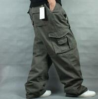 Mens Baggy Loose Cargo Casual Trousers Overalls Cotton Long Pants Fashion