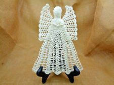 Hand Crochet White Starched Angel Ornament For Holiday or Other Decor - Pretty!