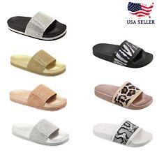 New Women Glitter Slide Silver Flip Flop Comfort Flat Beach Lightweight Sandal