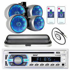 400W Marine Silver LED Tower Speakers, Pyle Bluetooth USB Radio, Cover, Antenna