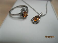 Sterling Silver Diamond And Citrine Ring and Necklace Set / November Birthstone