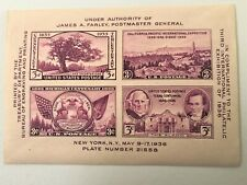 USA Stamps:1936 Exhibition Issue, Plate 21558,four different 3 cent stamps