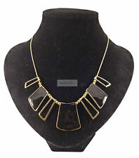 Vintage Tribal Geometric Black Gold Necklace