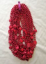 "12 Red Basketball Party Spirit Games Beads Necklaces 10mm 34"" ~ 1 dz"