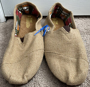 Toms Classic Size 14 Burlap Woven Slip On Unisex Shoes Natural