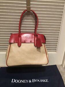 SUPERB Dooney & Bourke Wilson XL Panama Collection Linen w/ Red Leather Handbag