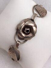 """Leaf Link Bracelet 7.5"""" Vintage Sterling Silver Floral Flower"""