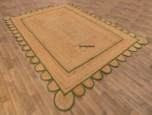 Scalloped Rug 100% Natural Braided Jute handmade home decor modern living rugs