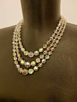 Czech Aurora Borealis Faceted Crystal Glass Bead Necklace Triple Stand Vintage