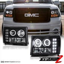 "2007-2013 GMC Sierra 1500 2500HD ""CCFL HALO"" BLACK Projector LED Headlights PAIR"
