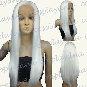 "28"" Heat Resistant Lace Front White Straight Long Cosplay Full Wigs T101"