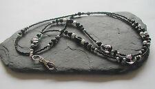 """Midnight Moon"" handmade perle di vetro CORDINO ID Badge Holder"