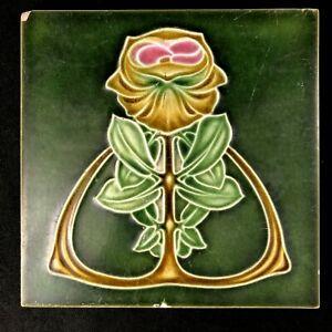 "🟢 Antique Henry Richards Pottery Art Nouveau Majolica PEONY 6"" Tile c. 1908 *A*"