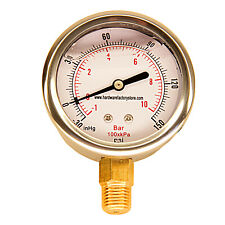 "Hfs 2.5"" -30-150Hg Oil Filled Vacuum + Air Pressure Gauge - 1/4"" Npt Lower Mount"