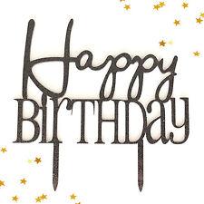 Black Glitter Happy Birthday Modern Birthday Party Cake Topper Decoration