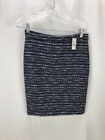 J Crew Women's Blue Black Cotton Blend Skirt 0 NWT