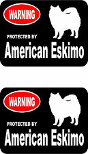 2 protected by American Eskimo dog car home window bumper vinyl stickers