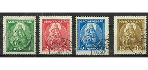 Hungary 1932 Madonna & Child Set of 4 Stamps Scott 462/65 (Mi.484/87) FU 13-1