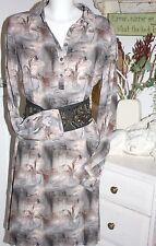 & bonita dress digital Tree camisa vestido Black batik manga larga size: l nuevo