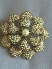 Vintage 1955-68 signed HAR Faux Seed pearl FLOWER FLORAL Pin Brooch