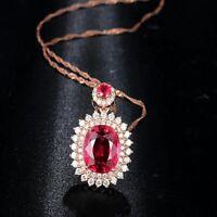 Luxus Elegant 925 Silber Halskette Blume Rubin Edelstein Anhänger Damen Hochzeit