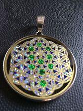 "Necklace Tree Of Life On Flower Of Life 1 5/8"" Pendant Tourmaline Gemstone #Gift"