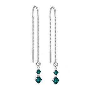 925 Sterling Silver Pull Thread Earrings Emerald Crystals from Swarovski®