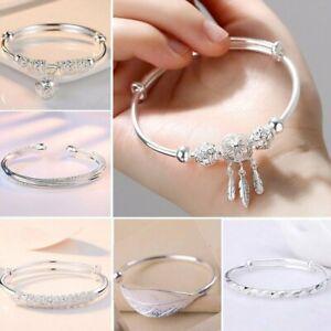 925 Silver Dreamcatcher Cuff Bracelet Lucky Beads Charm Adjustable Bangle Women
