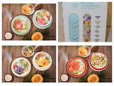 18-Piece Melamine Dinnerware Set Tropical Teal Red Cream Design