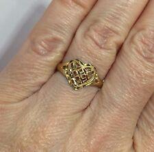 Vintage 10k Yellow Gold Diamond Cut Heart Filigree Love Artisan Estate Ring 7.25