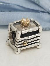 "Authentic Pandora Silver & 14k Charm ""Princess and the Pea"" Fairy Tale 790320"