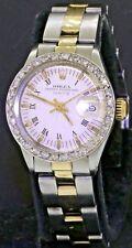 Rolex Date 6517 elegant SS/14K gold automatic lady's watch w/ diamond bezel