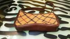 Brooks Brothers Plaid Fabric Leather Trimmed Purse Handbag Pouch Good Condition