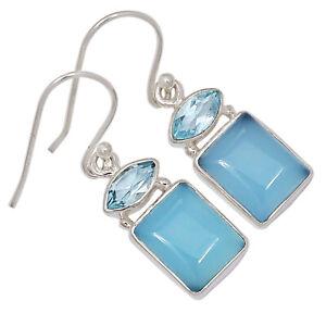 Blue Chalcedony & Blue Topaz 925 Sterling Silver Earring Jewelry ALLE-138