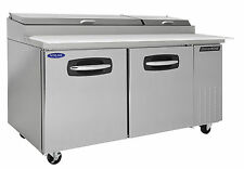 Nor-Lake AdvantEdge Nlpt67-003, 67-inch 2 Door Pizza Prep Tables W/Drawers on Le