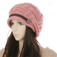 Winter Warm Ski Cap Brim Slouchy Ladies Knitted Newsboy Hat Fashion For Women's