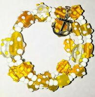 Memory Wire Bracelet with Yellow Glass Beads  Charms on ends FREE SHIPPING