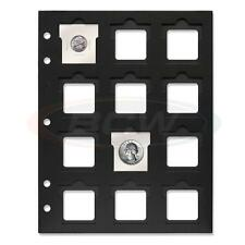 10 - BCW Slotted Paper Pages 2 x 2 Coin Storage Holders Sheets Black