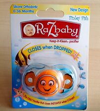 RaZbaby Keep it Kleen Pacifier Silicone Orthodontic Closes when Dropped Finley