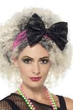 LADIES 80s PINK LACE HEADBAND WITH BLACK BOW ADULT MADONNA FANCY DRESS HEADPIECE
