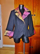 France KIM BERNARDIN Wool Tapestry Huge Cuffs JACKET COAT size 46 XL C76