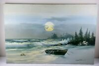 C. MILLION LARGE OIL ON CANVAS SEASCAPE PAINTING OF ROW BOAT ON SHORE SIGNED