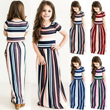 Kids Girls Short Sleeve Striped Dresses Holiday Pageant Party Long Maxi Dress US