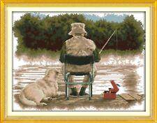 MAN and his DOG FISHING cross stitch kit 14 ct size 52 x 41 cm