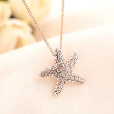 18K Rose Gold Filled SWAROVSKI Crystal Starfish Pendant Necklace Ocean Star Gift